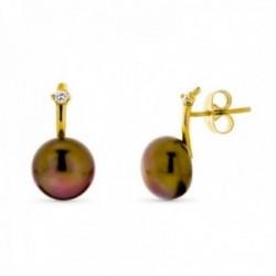 Pendientes oro 18k mujer perla botón 10 mm. marrón presión