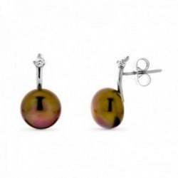 Pendientes oro blanco 18k mujer perla 10 mm. botón marrón presión