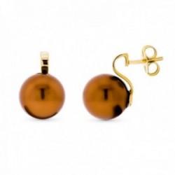 Pendientes oro 18k mujer 16 mm. perla color presión