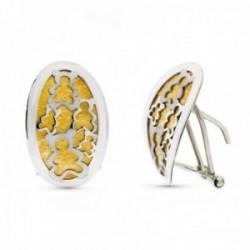 Pendientes oro bicolor 18k mujer ovalados ositos calados mate brillo omega
