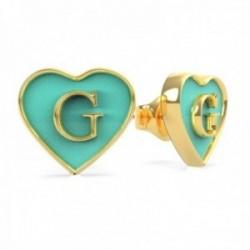 Pendientes Guess mujer Tur Enamel G Heart Studs UBE70254 acero inoxidable chapado oro forma corazón