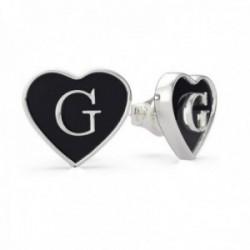 Pendientes Guess mujer Black Enamel G Heart UBE70253 acero inoxidable corazón negro G centro presión