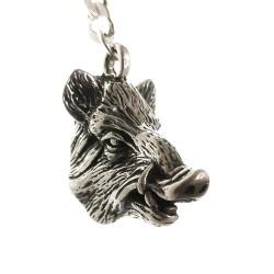Llavero plata Ley 925m macizo cabeza animal busto jabalí acabado detalles realistas