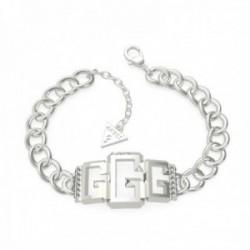 Pulsera Guess mujer Curb Chain UBB70022-S acero inoxidable 14 cm. 3G logo centro mosquetón