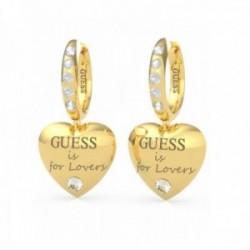 Pendientes Guess mujer Bold Heart Huggies UBE70111 acero chapado oro corazón 3 cm. Swarovski