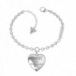 Pulsera Guess mujer Bold Heart Chain UBB70034-S acero inoxidable 14 cm. corazón colgante Swarovski