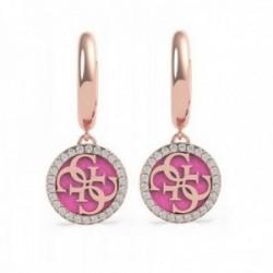 Pendientes Guess mujer Pink Enamel UBE70252 acero chapado oro rosa cristales Swarovski borde