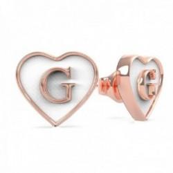 Pendientes Guess mujer White Enamel G Heart UBE70258 acero chapado oro rosa G centro blanco