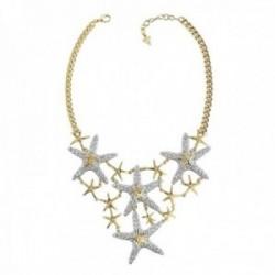 Gargantilla Guess mujer Starfish UBN78002 acero chapado oro estrellas mar combinadas cristales