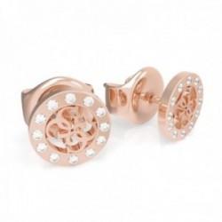 Pendientes Guess mujer Miniature UBE79035 acero inoxidable chapado oro rosa G centro cristales borde