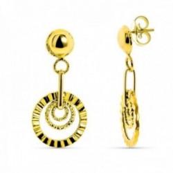 Pendientes oro 18k mujer largos bola combinada círculos calados tallados presión