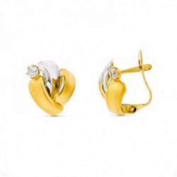 Pendientes oro bicolor 18k mujer 12 mm. circonitas combinadas bandas lisas cierre palillo catalán