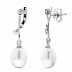 Pendientes oro blanco 18k mujer largos circontas combinados perlas formas lisas presión