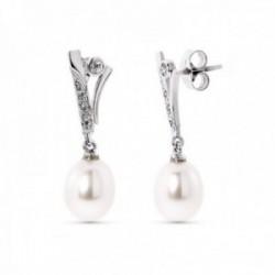Pendientes oro blanco 18k mujer largos circonitas barras lisas combinadas perlas presión