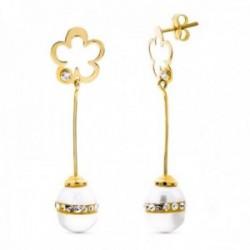 Pendientes oro 18k mujer largos flor calada barra vertical combinada perlas presión