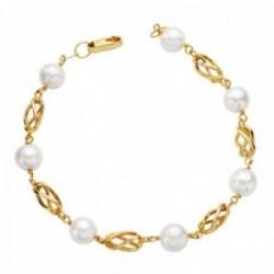 Pulsera oro 18k mujer 19 cm. jaulas combinadas perlas redondas mosquetón