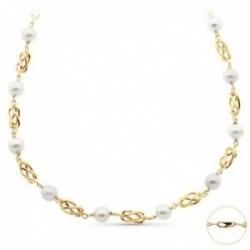 Cadena oro 18k mujer 50 cm. jaulas combinadas perlas mosquetón