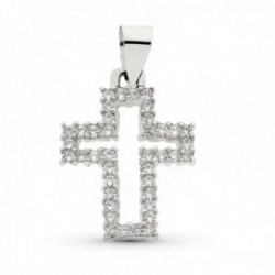 Cruz colgante oro blanco 18k mujer 23 mm. calada circonitas