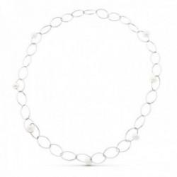 Gargantilla collar oro blanco 18k mujer 86 cm. forzada combinada siete perlas