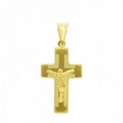 Cruz colgante oro 18k Cristo 27 mm. hueca láser