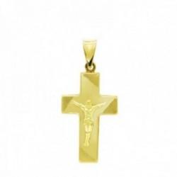 Cruz colgante oro 18k Cristo 27 mm. detalles esquinas hueca