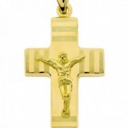 Cruz colgante oro 18k Cristo 27 mm. detalles mate brillo hueca