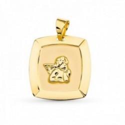 Medalla oro 18k ángel burlón 19 mm. centro bordes relieve detalle esquinas láser