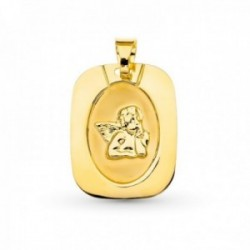 Medalla oro 18k ángel burlón 20 mm. centro láser bordes relieve láser
