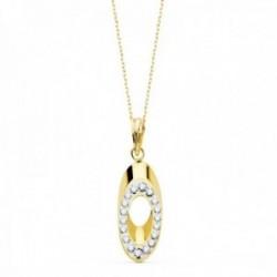 Colgante con cadena oro bicolor 18k mujer ovalado circonitas calado
