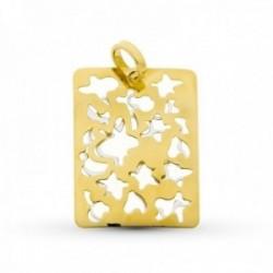 Colgante oro bicolor 18k mujer rectángular 20 mm. formas caladas