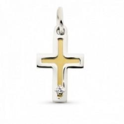 Cruz colgante oro bicolor 18k mujer 15 mm. circonita lisa