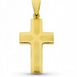 Cruz colgante oro 18k láser 32 mm. detalles lisa