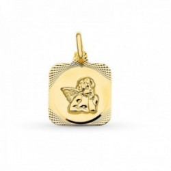 Medalla oro 18k mujer ángel burlón 15 mm. centro cuadrado froma