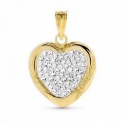 Colgante oro bicolor 18k mujer corazón circonitas bordes relieve