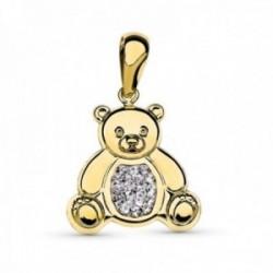 Colgante oro bicolor 18k mujer oso 19 mm. detalles combinado circonitas liso
