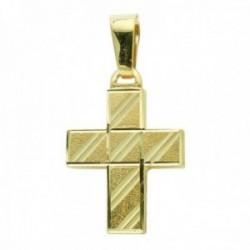 Cruz colgante oro 18k hueca 20 mm. tallada lisa