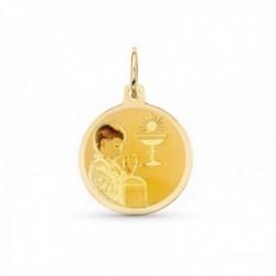 Medalla oro 18k Niño 15 mm. redonda esmalatada