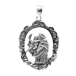 Colgante medalla plata Ley 925m San Antonio de Padua 46 mm. Bordes detalles tallados centro calado