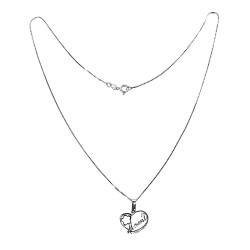 Conjunto plata Ley 925m mujer rodiada 45 cm. veneciana colgante MAMI corazón flor circonita 18 mm.