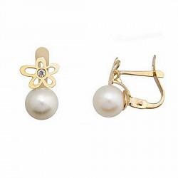 Pendientes oro 18k perla cultivada 6,5mm. flor circón [6699P]