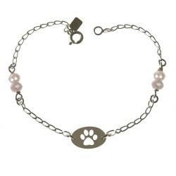 Pulsera plata Ley 925m mujer 19 cm. chapa huella calada combinada piedras color rosa reasa