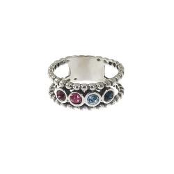 Sortija plata Ley 925m mujer cuatro piedras colores efecto oxidada