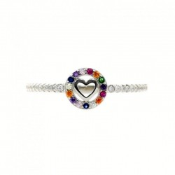 Sortija plata Ley 925m mujer corazón centro circonitas colores centro piedras laterales