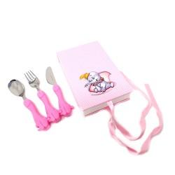 Set 3 cubiertos acero inoxidable 18/10 infantil caja Disney Dumbo plata Ley 925m bilaminada rosa