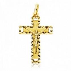 Crucifijo oro 18k Cristo cruz 27 mm. centro lisa bordes tallados esquinas caladas