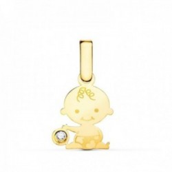 Colgante oro 18k mujer 12 mm. motivo niño bebé circonita