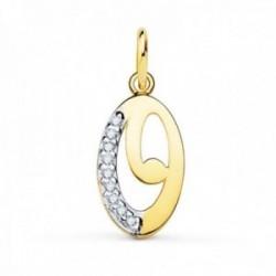 Colgante oro bicolor 18k mujer 15 mm. letra O mayúscula lisa combinada circonitas