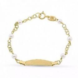 Esclava oro 18k primera comunión niña 12 cm. perlas 3 mm. chapa 19 x 4 mm. detalles bordes húngara