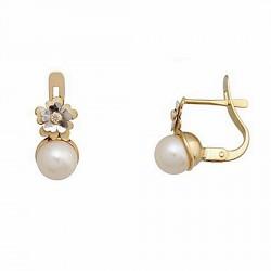 Pendientes oro 18k bicolor perla cultivada 5,5mm. circonita [6715P]