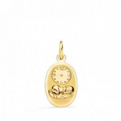 Medalla oro 18k bebé 18 mm. recién nacido brillo mate hora